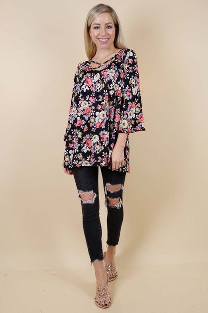 Flower Print Tunic Top - orangeshine.com