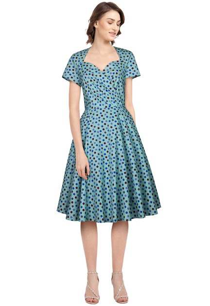 Plus Size Blue/Dots Wrap Retro Dress - orangeshine.com