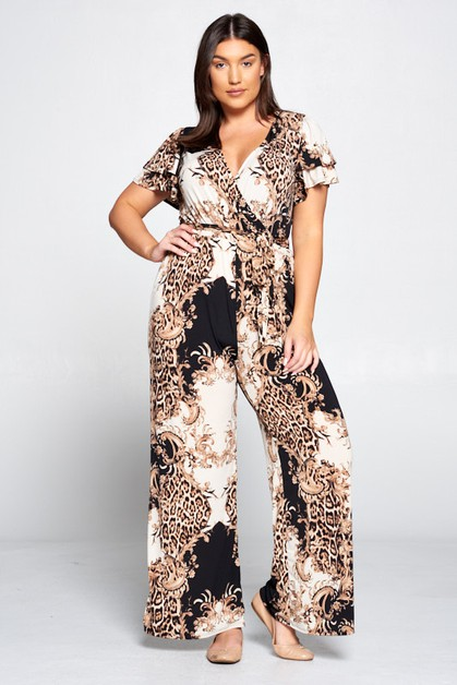 PRINT SHORT SLEEVE JUMPSUIT - orangeshine.com