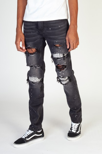 PINTUCK-PATCHED DENIM JEANS - orangeshine.com