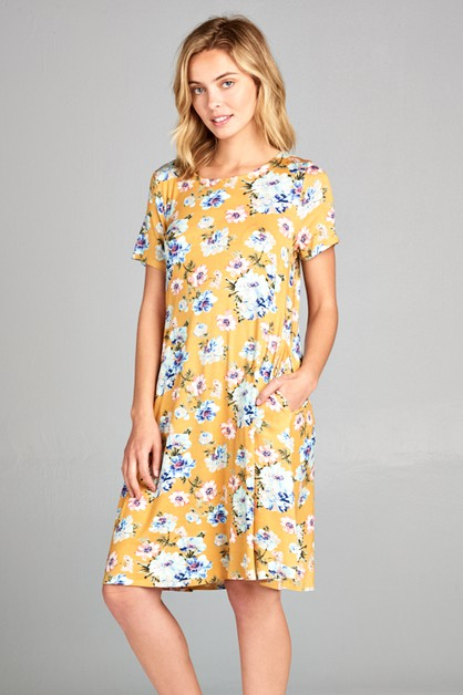 FLORAL ROUND NECK SIDE POCKET DRESS - orangeshine.com
