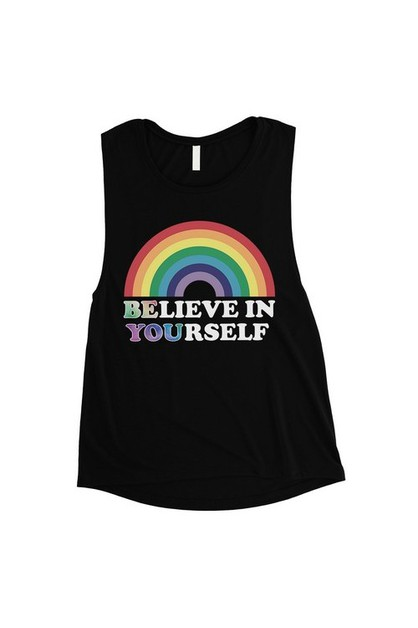 Be You Believe Rainbow Muscle Top - orangeshine.com