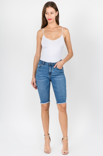 PLUS HIGH WAIST DENIM BERMUDA SHORTS - orangeshine.com