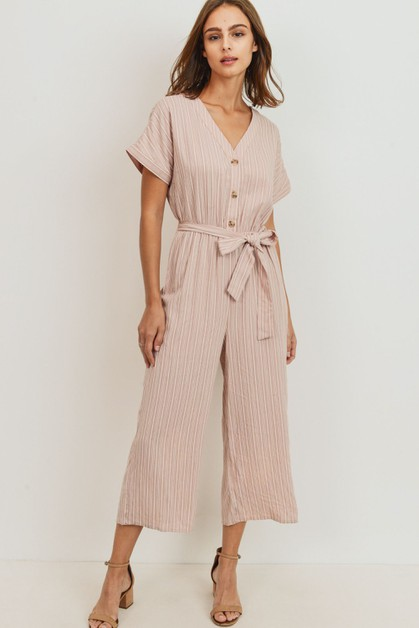 Striped Buttoned Waist Tie Jumpsuit - orangeshine.com