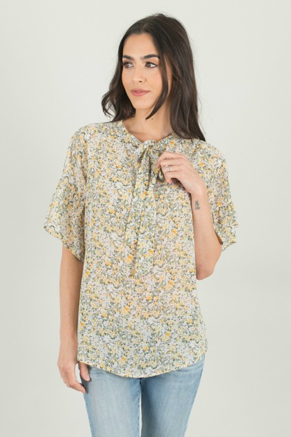 Mini Yellow Floral Top - orangeshine.com