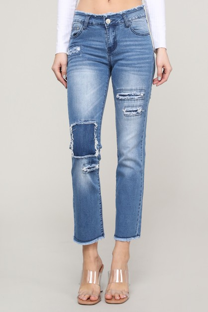 Ripped Patches Stretch Skinny Jeans - orangeshine.com