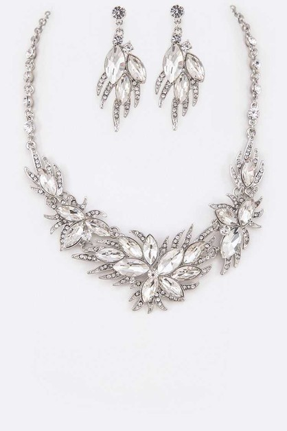 Mix Crystal Flower Statement Necklac - orangeshine.com
