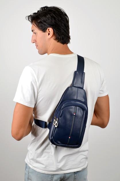 Navy Crossbody Leather Sling Bag - orangeshine.com
