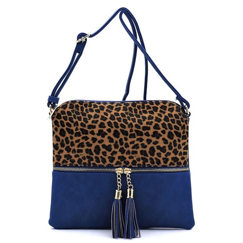 Leopard Colorblock Zip Tassel Bag - orangeshine.com