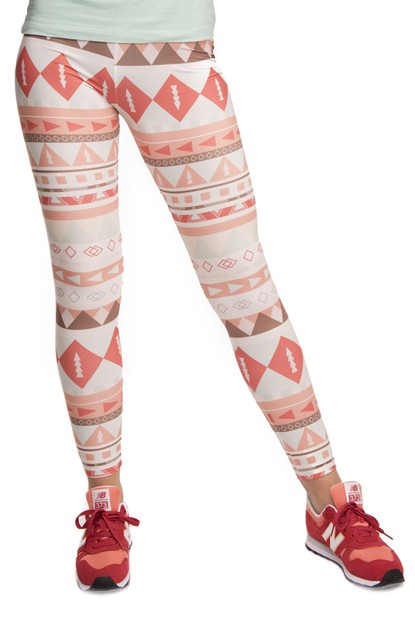 AZTEC PEACH Digital Printed Leggings - orangeshine.com