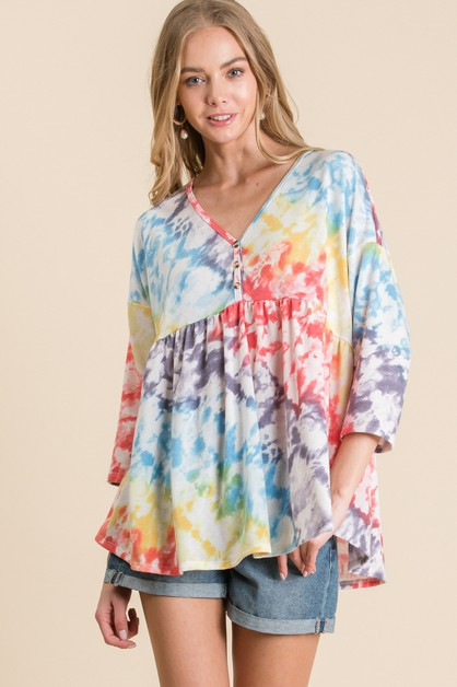 TIE DYE WITH BUTTON TOP - orangeshine.com