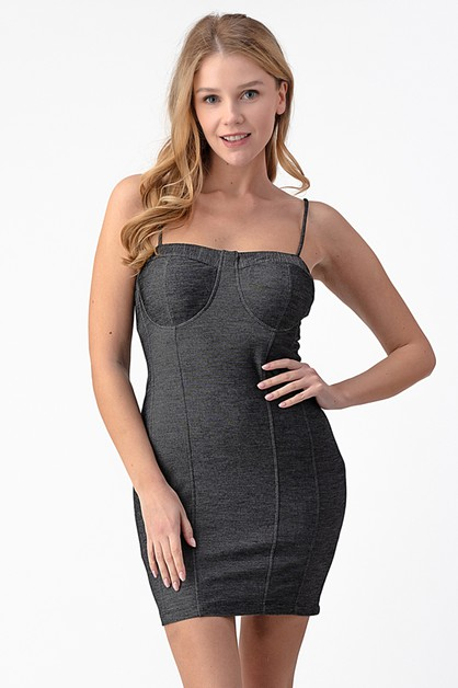 KNIT DENIM CAMI DRESS - orangeshine.com