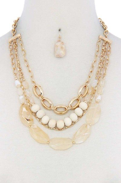 FAUX STONE BEADED LAYERED NECKLACE - orangeshine.com