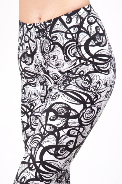 ABSTRACT PRINT BRUSHED LEGGINGS  - orangeshine.com