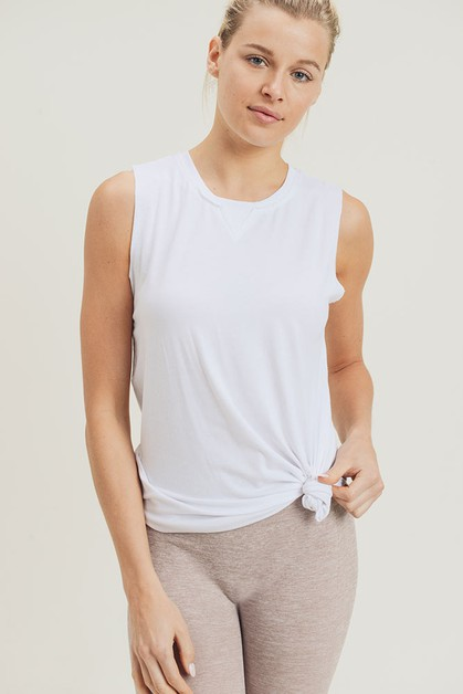 Essential Muscle Top with Ribbed Collar - orangeshine.com