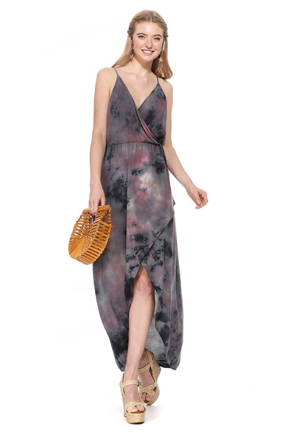 TIE DYE WRAP MAXI DRESS - orangeshine.com