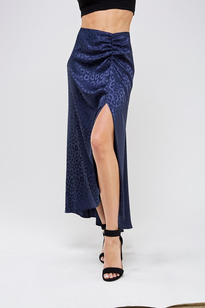 Satin leopard ruched midi skirt  - orangeshine.com