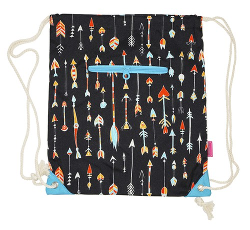 Arrow Print Drawstring Backpack - orangeshine.com