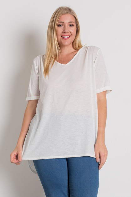 PLUS SIZE ROLLED SLEEVE V-NECK TOP - orangeshine.com