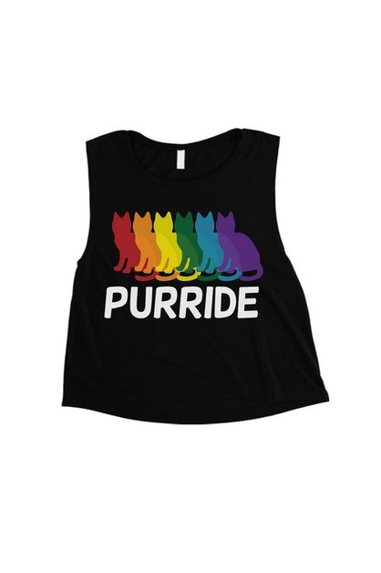 Purride Rainbow Cats Crop Top - orangeshine.com