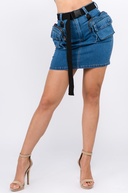 PLUS UTILITY POCKET DENIM SKIRTS - orangeshine.com