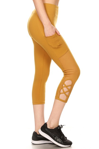 Mesh Cut Sport Leggings Yoga pockets - orangeshine.com