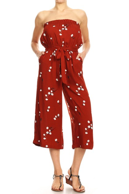 Red Floral Crop Wide Leg Jumpsuits - orangeshine.com