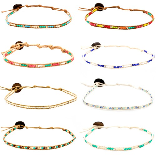 Seed Bead Anklets- 10 pack assorted - orangeshine.com