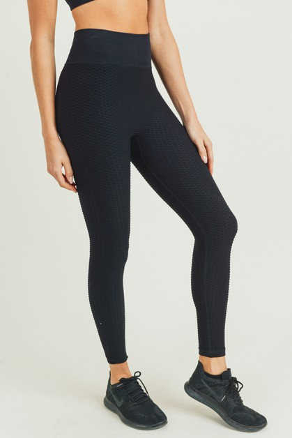 Jacquard Ribbed Seamless Highwaist Leg - orangeshine.com