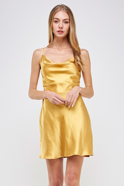 SATIN COWL NECK MINI DRESS - orangeshine.com