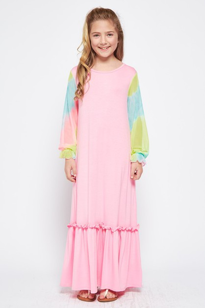 KIDS TIEDYE ORGANZA SLEEVE MAXIDRESS - orangeshine.com