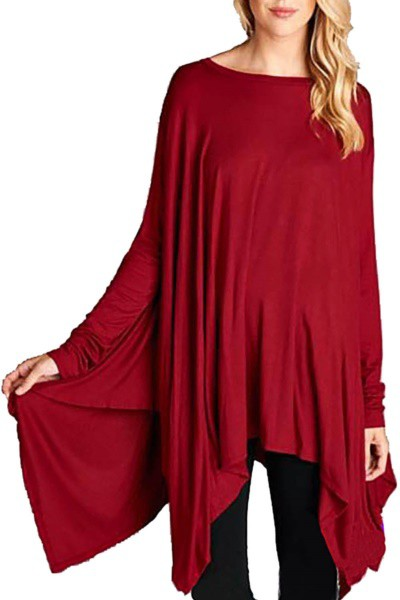 LONG SLEEVE SOLID LOOSE PONCHO - orangeshine.com