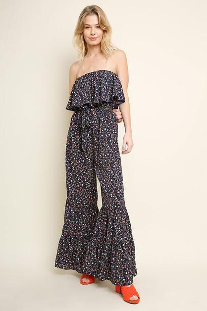 Ruffled Wide Leg Tube Top Jumpsuit - orangeshine.com
