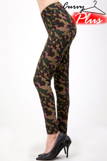 PLUS SIZE CAMOUFLAGE PRINT LEGGINGS  - orangeshine.com