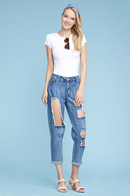 Mid Rise Destroyed Stretch Jeans - orangeshine.com