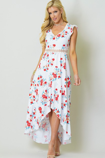 FLORAL AND CROCHET HIGH LOW DRESS - orangeshine.com