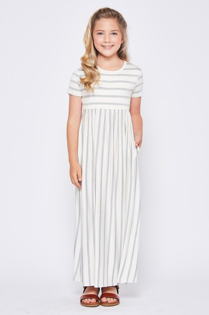 KIDS SIZE STRIPED MAXI DRESS - orangeshine.com