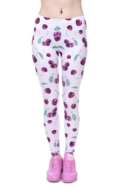 CHERRY PINK Printed Leggings - orangeshine.com