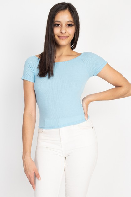 Ribbed off shoulder Top - orangeshine.com