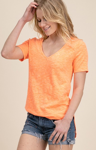 HEAVY COTTON V NECK TOP WITH DEEP U  - orangeshine.com