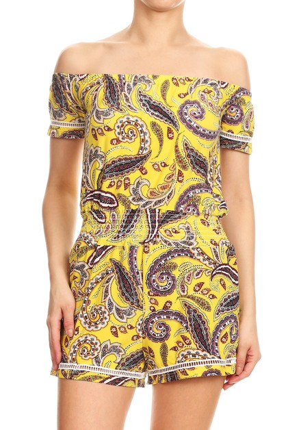 Yellow Floral Rompers Jumpsuits - orangeshine.com