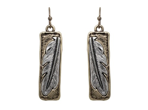 CARVED FEATHER METAL EARRING - orangeshine.com