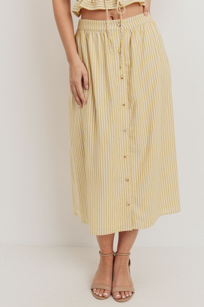 Striped Button Down Skirt - orangeshine.com