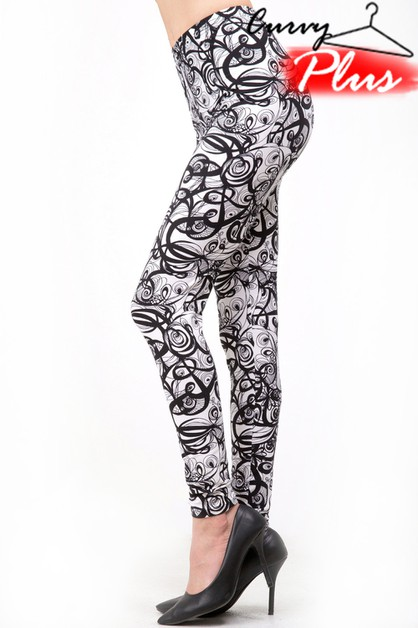 ABSTRACT PRINT BRUSHED LEGGING - orangeshine.com