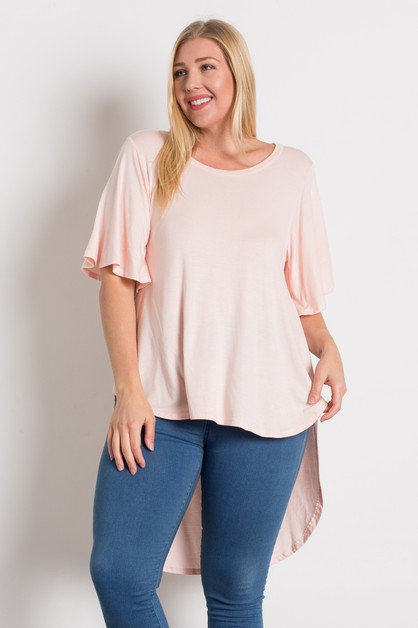 PLUS SIZE DRAMATIC HI LOW HEM TOP - orangeshine.com