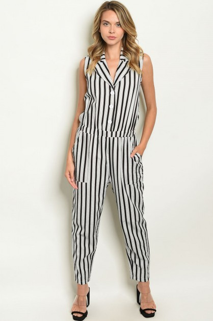 Button-down collar stripe jumpsuit - orangeshine.com