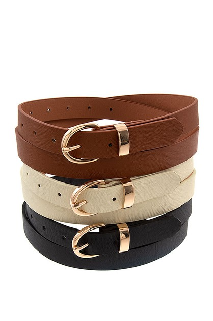 TRIPLE SET FAUX LEATHER FASHION BELT - orangeshine.com