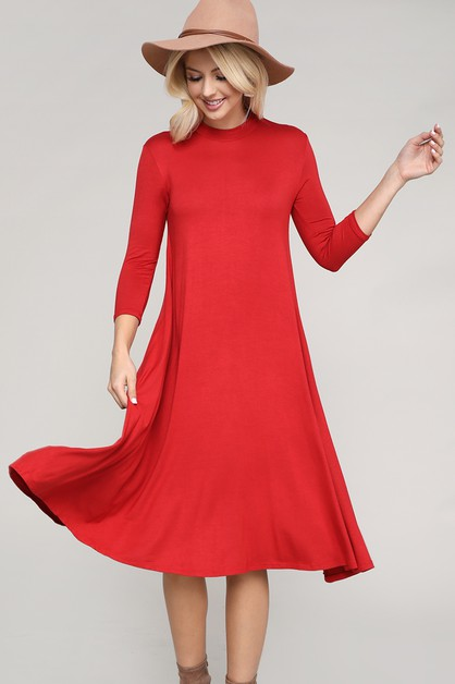 MOCK NECK 3-QUARTER SLEEVE DRESS - orangeshine.com