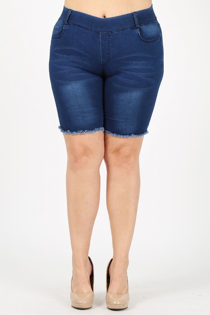 Plus Hi-Waist Stretched Bermudas - orangeshine.com