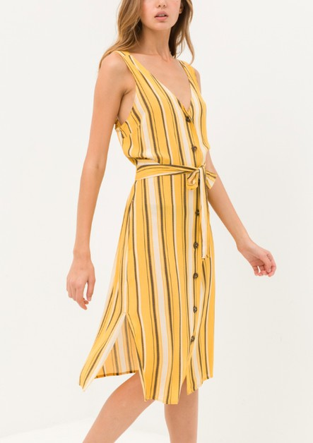 V Neck Button Up Belted Midi Dress - orangeshine.com